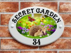 Hedgehog with butterflies design house plaque
